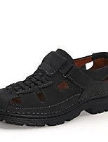 Men's Sandals Novelty Cowhide Summer Outdoor Upstream shoes Novelty Chunky Heel Khaki Brown Black Flat