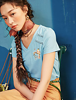 I BELIEVE YOUWomen's Casual/Daily Vintage Simple T-shirtSolid Print Embroidery V Neck Short Sleeve Cotton