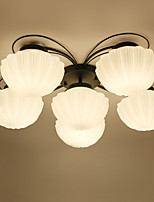 Flush Mount ,  Tiffany Electroplated Feature for Matte Eye Protection Metal Indoors Bedroom Hallway 6 Bulbs