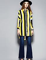 Damen Gestreift Anspruchsvoll Ausgehen Lässig/Alltäglich Hemd,Hemdkragen Frühling Sommer Langarm Polyester Dünn
