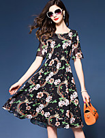 YHSPWomen's Going out Casual/Daily Simple Chinoiserie Sophisticated A Line Sheath Chiffon DressFloral Printing Round Neck Midi Short Sleeve