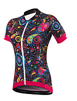 Cycling Jersey Women's Short Sleeve Bike JerseyQuick Dry Anatomic Design Ultraviolet Resistant Moisture Permeability Breathable YKK