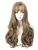 New Arrival Brown Color Long Wave Women Wigs Heat Resisting Syntheitc Wigs