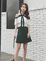 Women's Casual/Daily Sexy Summer Blouse Skirt Suits,Solid Boat Neck Half Sleeve strenchy