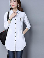 Women's Casual/Daily Simple Spring Shirt,Embroidered Square Neck Long Sleeve Cotton Thin