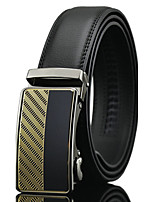 Men's Simple Striped Black Genuine Leather Alloy Automatic Buckle Waist Belt Work / Casual/Party All Seasons