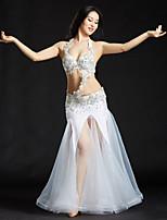 Dança do Ventre Roupa Mulheres Actuação Poliéster Lantejoulas 3 Peças Sem Mangas Caído Saias Sutiã Cinto