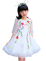 Girl's Solid Color Lace Flower Dress,Cotton Polyester Summer Half Sleeve