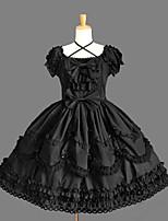 Uma-Peça/Vestidos Lolita Clássica e Tradicional Elegant Princesa Cosplay Vestidos Lolita Fashion Cor Única Concha Manga Curta Short / Mini
