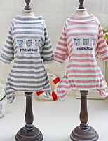 Other Clothes/Jumpsuit Dog Clothes Cute Casual/Daily Stripe Blushing Pink Gray