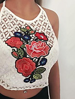 Women's Casual/Daily Sexy Summer Tank Top,Embroidered Halter Sleeveless Acrylic Thin