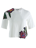 Women's Daily Cute T-shirt,Embroidery Round Neck Short Sleeve Cotton