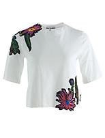 Damen Stickerei Niedlich Alltag T-shirt,Rundhalsausschnitt Kurzarm Baumwolle