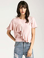 Women's Going out Casual/Daily Simple T-shirt,Solid Round Neck Short Sleeve Silk Cotton