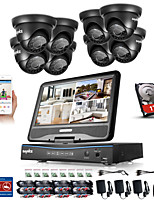 SANNCE® 8CH 8PCS 720P LCD DVR Weatherproof Security System Supported Analog AHD TVI IP Camera 1TB