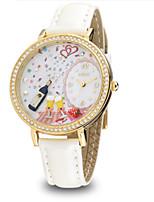 Женские Модные часы Кварцевый Кожа Группа Белый