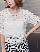 Women's Party/Evening School Date Sexy Summer Blouse Skirt Suits,Others Round Neck ½ Length Sleeve Micro-elastic