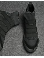 Men's Sneakers Canvas Spring White Black Burgundy Flat