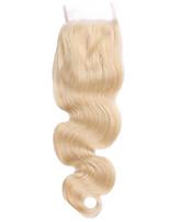 Кружево закрытия 4 * 4 высокое качество # 613 тела волна красивые человеческие волосы для женщин