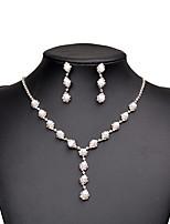 Set de Bijoux Boucles d'oreille goutte Collier court /Ras-du-cou Perle imitée Zircon cubique Mode Bijoux de Luxe Elegant Perle Zircon