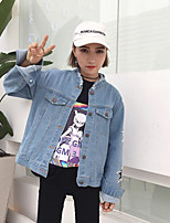 Women's Casual/Daily Simple Street chic Spring Denim Jacket,Solid Round Neck Long Sleeve Regular Cotton