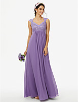 2017 LAN TING BRIDE Floor-length Queen Anne Bridesmaid Dress - See Through Sleeveless Chiffon Lace