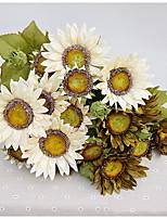 1 Peça 1 Ramo Poliéster Plástico Girassóis Flor de Mesa Flores artificiais