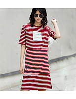 AMIIWomen's Casual/Daily Loose DressStriped Round Neck Above Knee Short Sleeve Cotton Summer Mid Rise Inelastic Thin