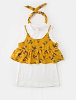 Girls' Floral Sets,Rayon Polyester Summer Short Sleeve Clothing Set