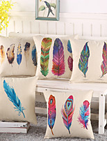Set Of 5 Bohemia Colorful Feather Pillow Case Creative Cotton/Linen Pillow Cover