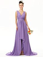 LAN TING BRIDE א-סימטרי צווארון וי שמלה לשושבינה  - גב פתוח ללא שרוולים שיפון