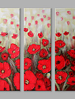 IARTS Oil Painting Modern Abstract Red Flowers Set of 3 Art Acrylic Canvas Wall Art For Home Decoration