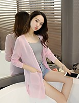 Women's Daily Casual Cute Regular Cardigan,Solid V Neck Long Sleeve Others Spring Summer ExtraSheer Micro-elastic