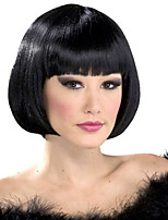 12inch Synthetic Straight Hair Wig with bangs Short Black BoBo Wigs for Women Heat Resistant Wig