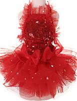 Собаки Платья смокинг Одежда для собак Милые Свадьба Пайетки Красный Розовый