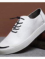 Men's Sneakers Comfort Cowhide Spring Daily White Black Flat