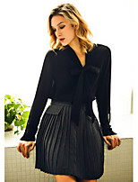 Xuan Yan Women's Going out Casual/Daily Above Knee SkirtsCute A Line Pleated Solid Spring Summer Fall