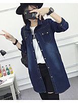 Women's Going out Casual/Daily Simple Street chic Spring Fall Denim Jacket,Solid Peaked Lapel ¾ Sleeve Long Others