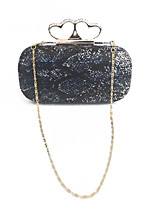 Women Sequins Beaded Event/Party Evening Bag with Snake Pattern Gold/Blue