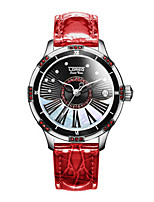 Women's Fashion Watch Mechanical Watch Automatic self-winding Leather Band White Red Brown