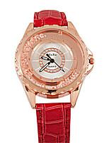 Женские Модные часы Кварцевый Кожа Группа Белый Синий Красный