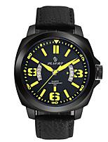 Men's Sport Watch Fashion Watch Chinese Quartz Calendar Noctilucent Genuine Leather Band Black
