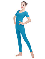 Unisex Lycra Spandex Unitard Round Neck Short Sleeves Footless Elastane Bodysuit Costume