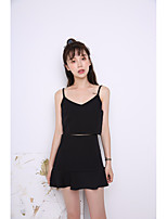 Women's Going out Casual/Daily Sexy Simple Cute T-shirt Skirt Suits,Solid Strap Sleeveless strenchy