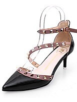 Women's Heels PU Spring Summer Walking Stiletto Heel Black Beige Blushing Pink 1in-1 3/4in