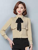 Для женщин Праздник Рубашка Круглый вырез,Простое Однотонный Длинный рукав,Хлопок