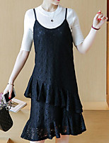 Women's Casual/Daily Simple Spring T-shirt Dress Suits,Solid Round Neck Short Sleeve