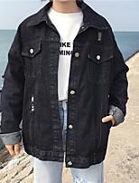 Women's Casual/Daily Simple Spring Denim Jacket,Solid Shawl Lapel Long Sleeve Regular Linen Mesh
