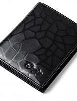 Men Wallet Genuine Leather Fashion Purse Male Real Cowhide Pattern Card Holder Trifold Short Money Bag Man Black Color