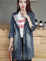 Veste en jean Femme,Couleur Pleine Imprimé Décontracté Décontracté Printemps/Automne Manches longues Mao Longue Coton